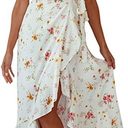 ZESICA Women's Summer Bohemian Floral Printed Wrap V Neck Beach Party Flowy Ruffle Midi Dress | Amazon (US)