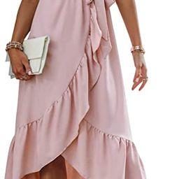Miessial Women's Summer Chiffon V Neck Ruffle Maxi Dress Polka Dot Long Beach Wrap Dress | Amazon (US)