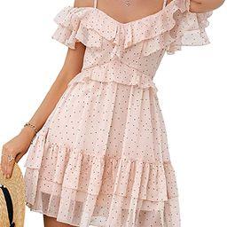 Simplee Women's Party Dress Tulle Ruffle Spaghetti Strap A Line Mini Dress | Amazon (US)