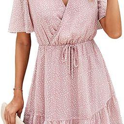 KIRUNDO 2021 Women's Summer Short Sleeve Ruffle Floral Dress V Neck High Waist Layer Short Mini... | Amazon (US)