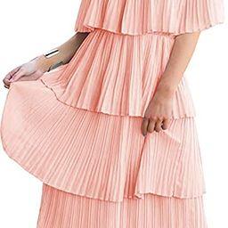 ETCYY Women's Off The Shoulder Ruffles Summer Loose Casual Chiffon Long Party Beach Maxi Dress ... | Amazon (US)