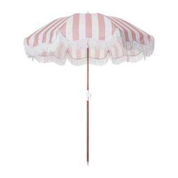 holiday beach umbrella, pink stripe | minnow