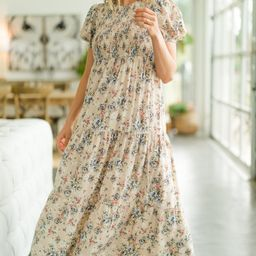 What A Day Beige Brown Ditsy Floral Maxi Dress | The Mint Julep Boutique
