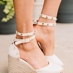 In A Flash Off White Studded Wedges | The Mint Julep Boutique