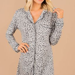 What A Night Gray Leopard Sleep Dress | The Mint Julep Boutique