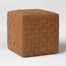 Wellford Faux Leather Woven Cube Brown - Threshold™   Target
