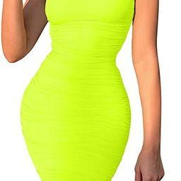 BEAGIMEG Women's Sexy Spaghetti Strap Bodycon Ruched Club Mini Party Dress | Amazon (US)