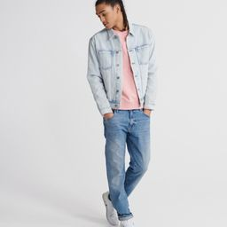 Mens - Organic Cotton Standard Label Crew Sweatshirt in Grey Pink   Superdry   Superdry (UK)