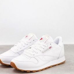 Reebok Classic Leather trainers in white with gum sole   ASOS (Global)