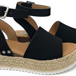Soda Womens VALETT Open Toe Casual Ankle Strap Sandals | Amazon (US)