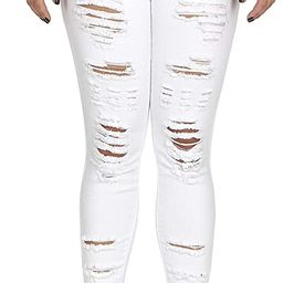 COVER GIRL Women's High Waisted Cute Ripped Fray Distressed Fit Skinny Juniors | Amazon (US)