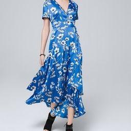 Floral Print Faux Wrap Midi Dress | White House Black Market