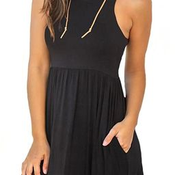 LONGYUAN Women's Summer Sleeveless Casual Dresses Swing Cover Up Elastic Sundress with Pockets | Amazon (US)