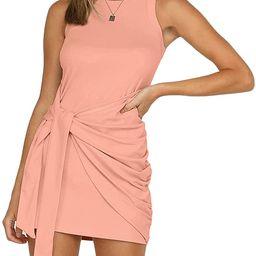 LETSRUNWILD Women's Summer Tank Dress Crew Neck Ruched Tie Waist Sleeveless Solid Casual Bodycon ... | Amazon (US)