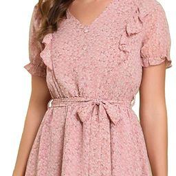 Allegra K Women's Floral Ruffle Trim V Neck Tie Waist Chiffon Dress | Amazon (US)