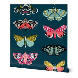 moths // moth butterflies butterfly fabric navy botanical nature andrea lauren design andrea laur...   Spoonflower