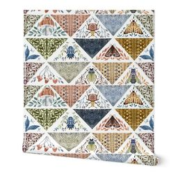Painted patchwork- white   Spoonflower