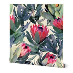 Painted Protea Floral Extra Large Version   Spoonflower