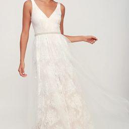 Sweet Love Ivory Lace Beaded Maxi Dress | Lulus (US)