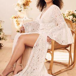 Duchess Ivory Lace Bell Sleeve Maxi Dress | Lulus (US)