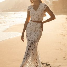 Special Moments White Crochet Lace Two-Piece Maxi Dress | Lulus (US)
