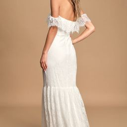 Love is Forever White Lace Off-The-Shoulder Ruffled Maxi Dress | Lulus (US)
