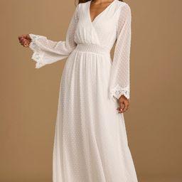 New Romantic White Swiss Dot Lace Long Sleeve Maxi Dress | Lulus (US)