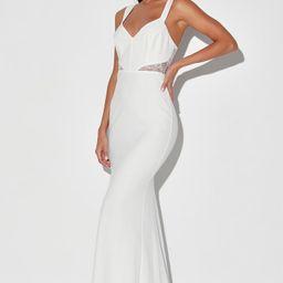 Lace Me See White Lace Cutout Mermaid Maxi Dress | Lulus (US)