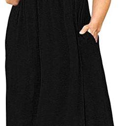 POSESHE Women's Plus Size Tunic Swing T-Shirt Dress Short Sleeve Maxi Dress with Pockets | Amazon (US)