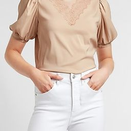 Lace Pieced Puff Sleeve Top | Express