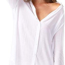 TOUSYEA Sleep Shirts for Women Button Down Shirts Long Sleeve Sleepwear Swimsuit Cover Ups Soft P... | Amazon (US)