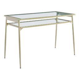 Metal and Glass Lilian Desk with Shelf | World Market
