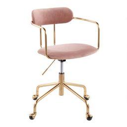 Gold Metal and Velvet Upholstered Office Chair | World Market
