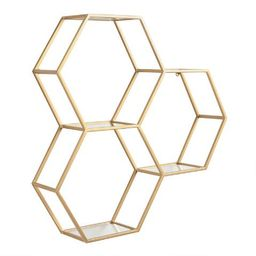 Gold and Glass Honeycomb Wall Shelf | World Market