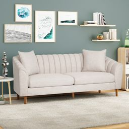 Noble House Orly Contemporary 3 Seater Fabric Sofa, Beige   Walmart (US)