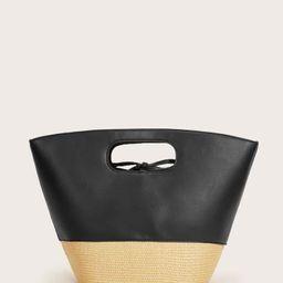 EMERY ROSE Straw Panel Tote Bag | SHEIN