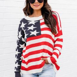My Last Wish American Flag Ivory Sweater | The Pink Lily Boutique