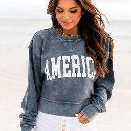 America Distressed Block Navy Cropped Corded Graphic Sweatshirt | The Pink Lily Boutique