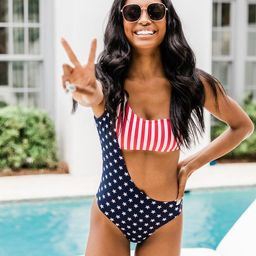 Sentimental Love Stars And Stripe One Piece Swimsuit | The Pink Lily Boutique