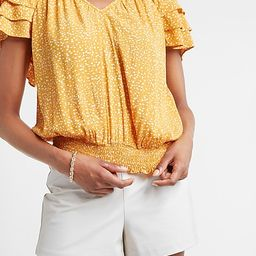 Printed Tiered Sleeve V-Neck Top   Express