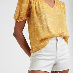 Printed Puff Sleeve V-Neck Top   Express
