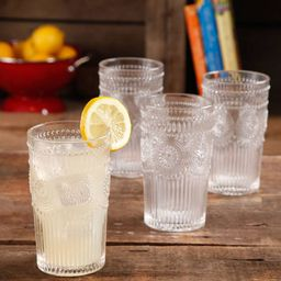 The Pioneer Woman Adeline 16-Ounce Embossed Glass Tumblers, Set of 4, Clear | Walmart (US)