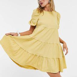 Monki mini tiered smock dress in yellow   ASOS (Global)
