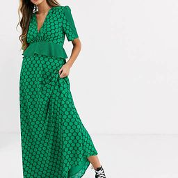 Twisted Wunder ruffle waist detail maxi dress in contrast green polkadot print   ASOS (Global)