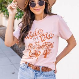 Ride Or Die Peach Graphic Tee   The Pink Lily Boutique