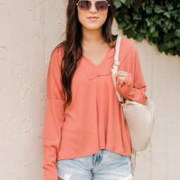 Unwritten Path Burnt Orange Thermal Pullover   The Pink Lily Boutique