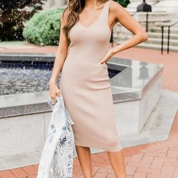 Complicated Past Taupe Knit Midi Dress   The Pink Lily Boutique