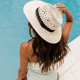 Sounds Of Summer Black Band Straw Ivory Hat   The Pink Lily Boutique
