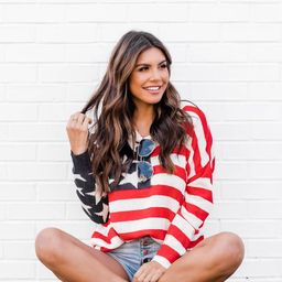 My Last Wish American Flag Ivory Sweater   The Pink Lily Boutique