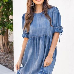 Marketside City Tiered Babydoll Denim Dress   The Pink Lily Boutique